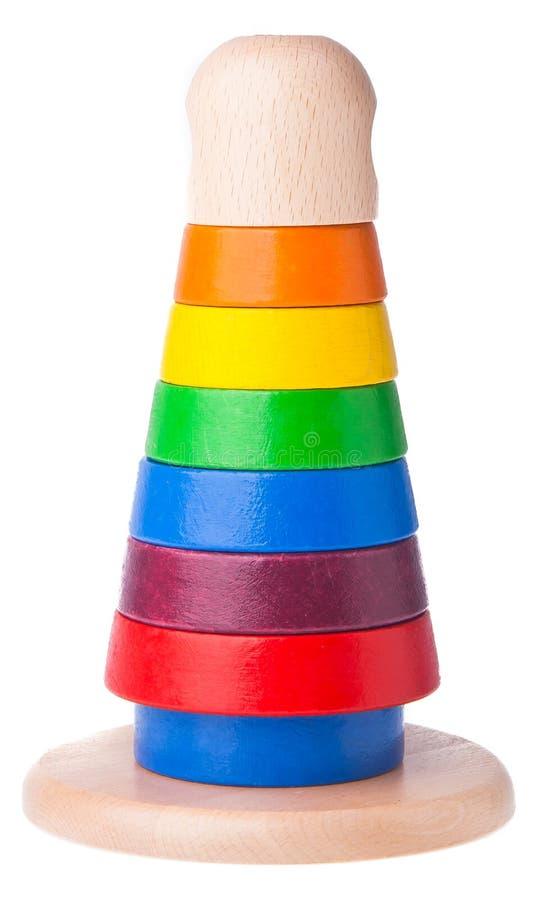 Het leren de piramidestuk speelgoed van de kind houten kleur royalty-vrije stock afbeeldingen