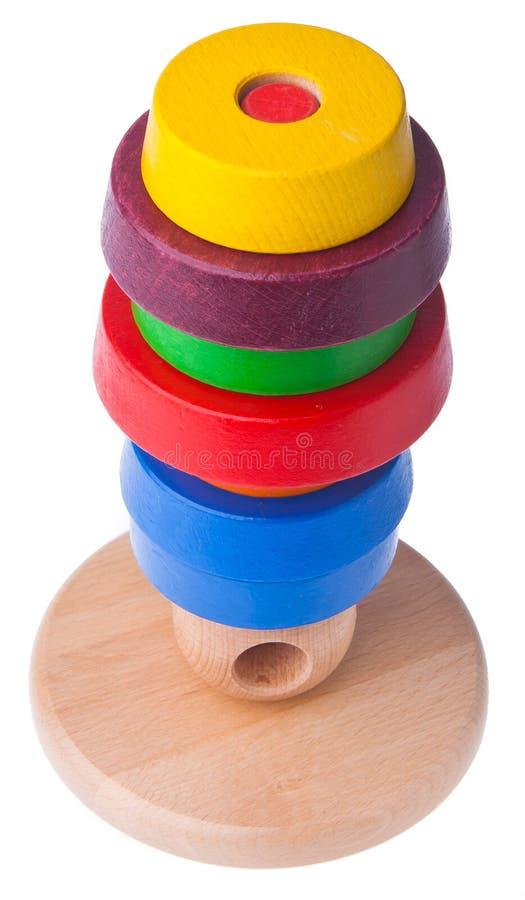 Het leren de piramidestuk speelgoed van de kind houten kleur royalty-vrije stock foto's