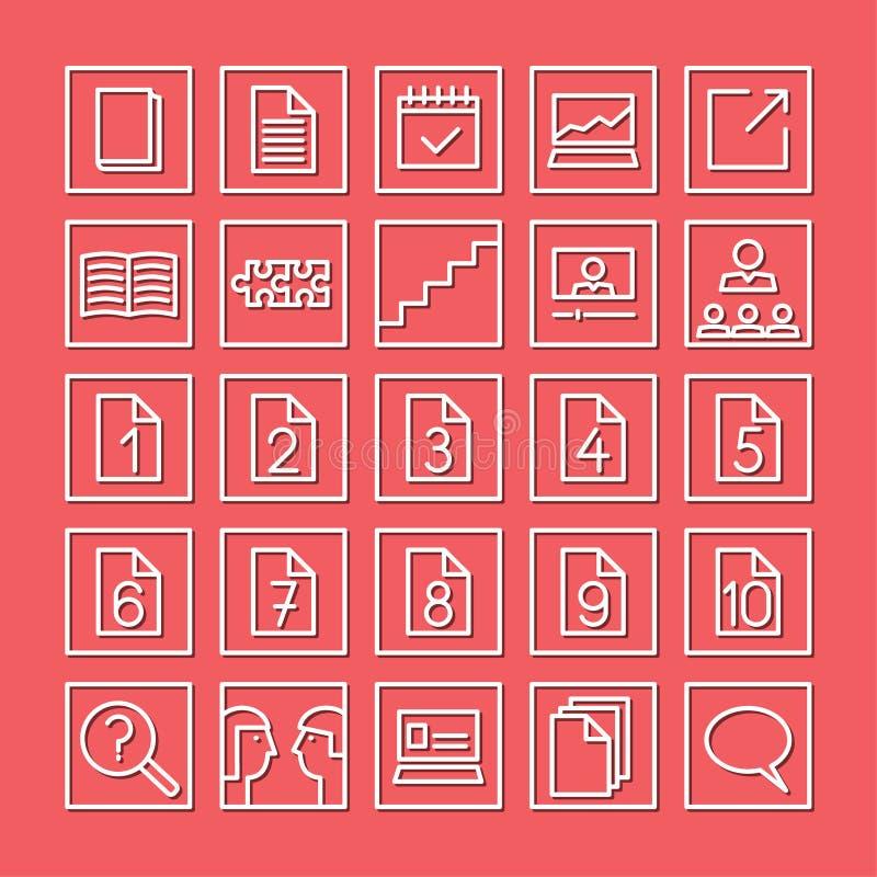 Het leren en studie vlakke pictogramreeks Witte lineaire pictogrammen op een rode achtergrond royalty-vrije illustratie