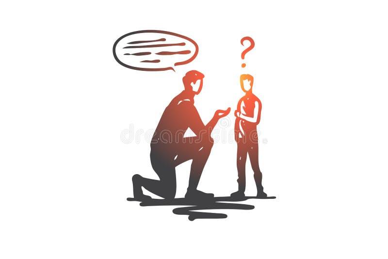 Het leren, onbekwaamheid, jongen, gezondheid, onderwijsconcept Hand getrokken geïsoleerde vector vector illustratie