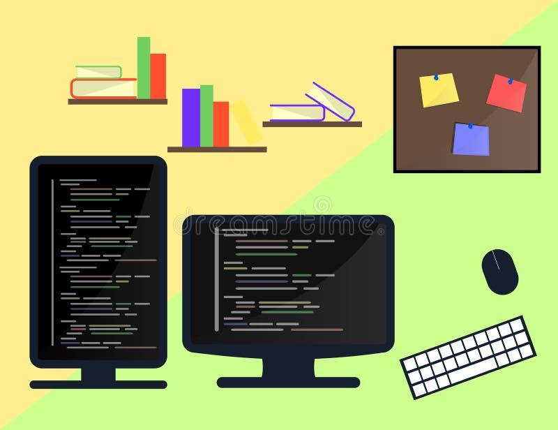 Het leren Programmering en het coderen concept, websiteontwikkeling, Webontwerp Vlakke illustratie royalty-vrije illustratie