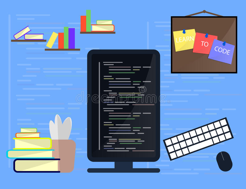 Het leren Programmering en het coderen concept, websiteontwikkeling, Webontwerp Vlakke illustratie stock illustratie