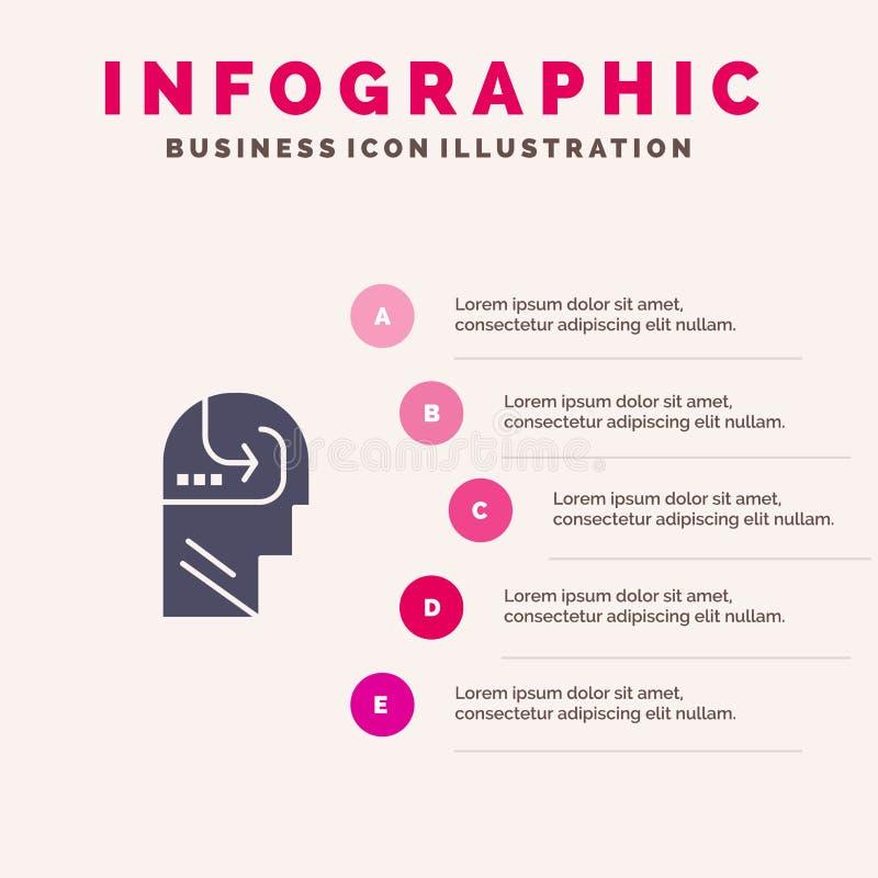 Het leren, Vaardigheid, Mening, Hoofd Stevig Pictogram Infographics 5 de Achtergrond van de Stappenpresentatie vector illustratie