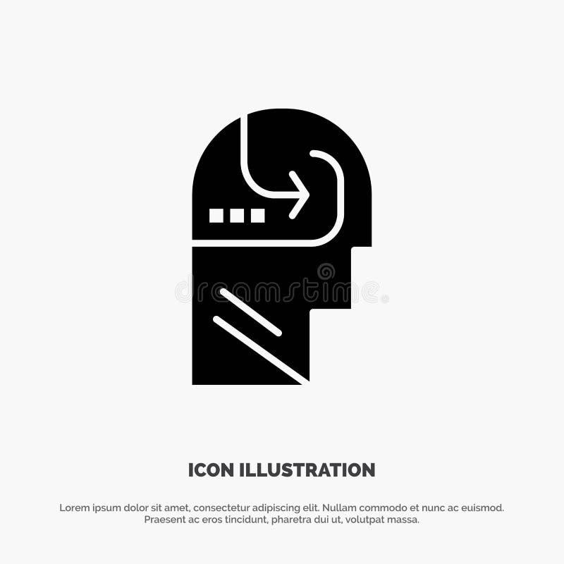 Het leren, Vaardigheid, Mening, Hoofd stevige Glyph-Pictogramvector vector illustratie