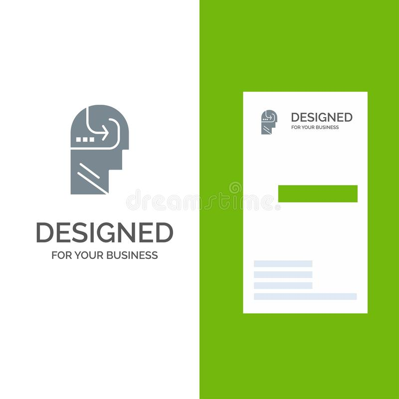 Het leren, Vaardigheid, Mening, Hoofdgrey logo design en Visitekaartjemalplaatje stock illustratie