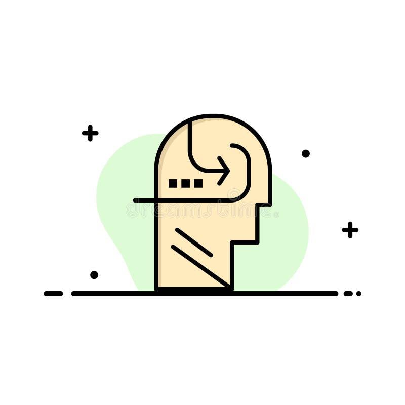 Het leren, Vaardigheid, Mening, Hoofdzaken Logo Template vlakke kleur vector illustratie