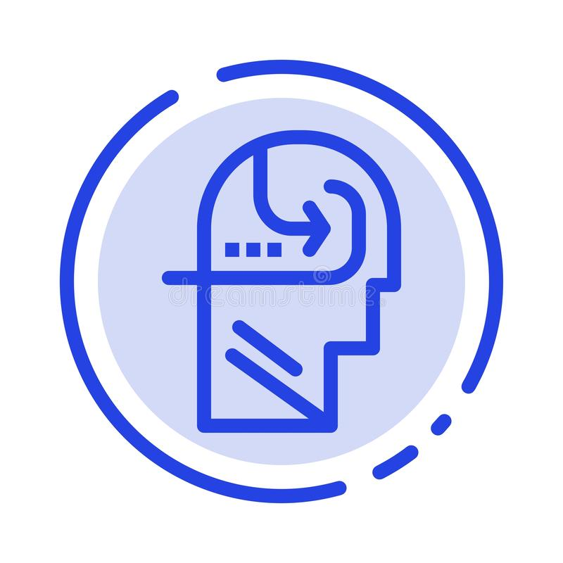 Het leren, Vaardigheid, Mening, leidt het Blauwe Pictogram van de Gestippelde Lijnlijn stock illustratie