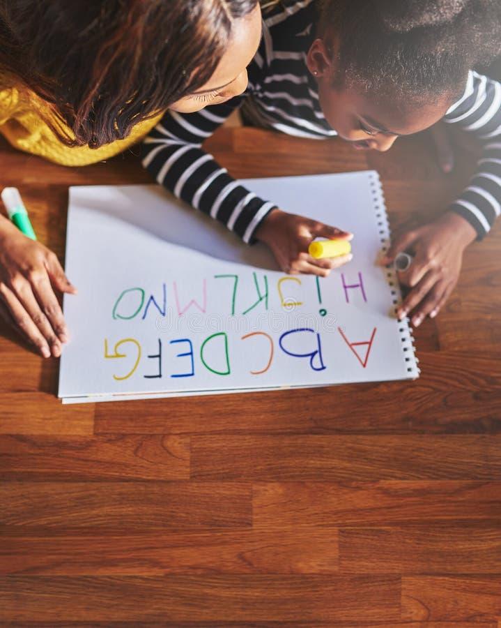 Het leren van het alfabet, luchtmening royalty-vrije stock foto's