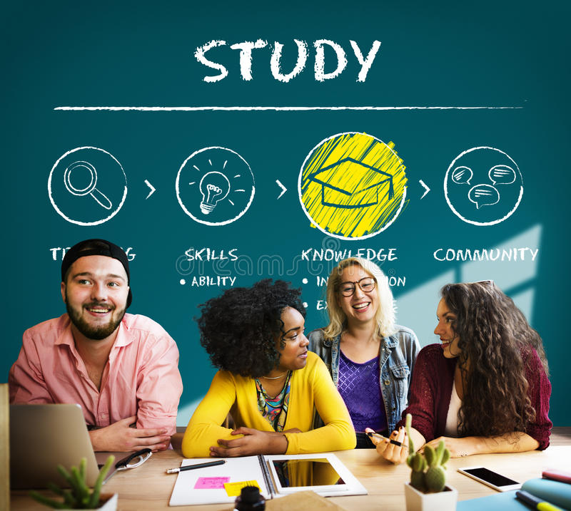 Het leren van het de Kennisinzicht van het Studieonderwijs de Wijsheidsconcept stock afbeelding