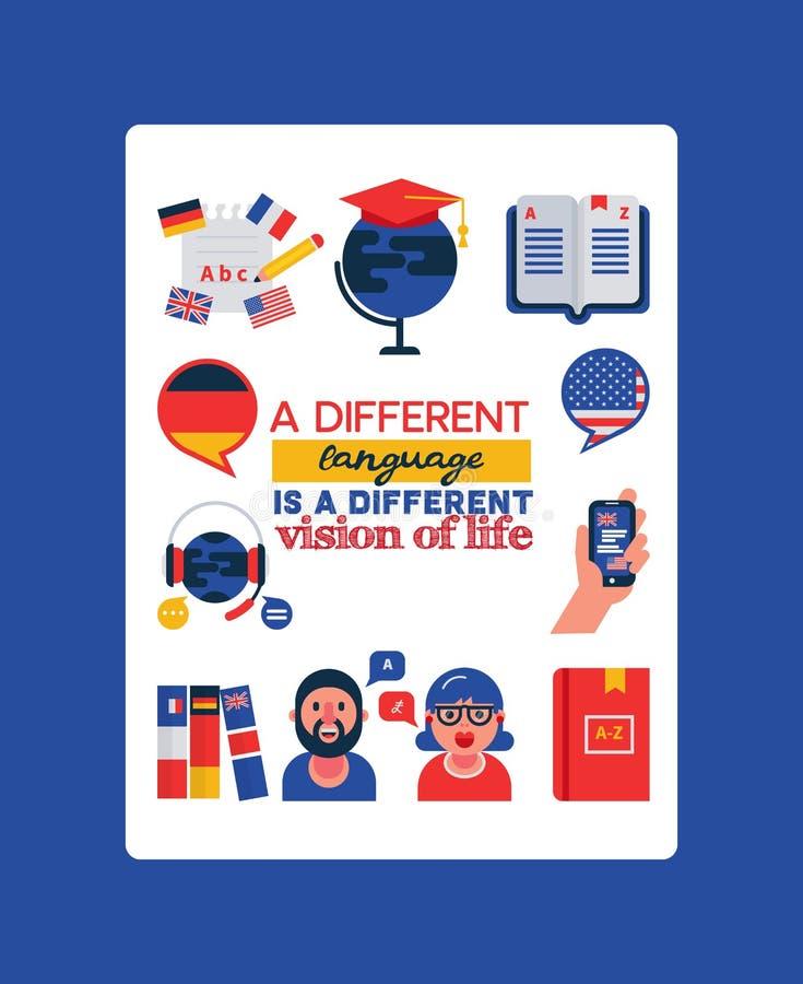 Het leren van vreemde talen vectorillustratie met typografie Vertaling, buitenlandse beeldverhaalkarakter en woordenboek, stock illustratie