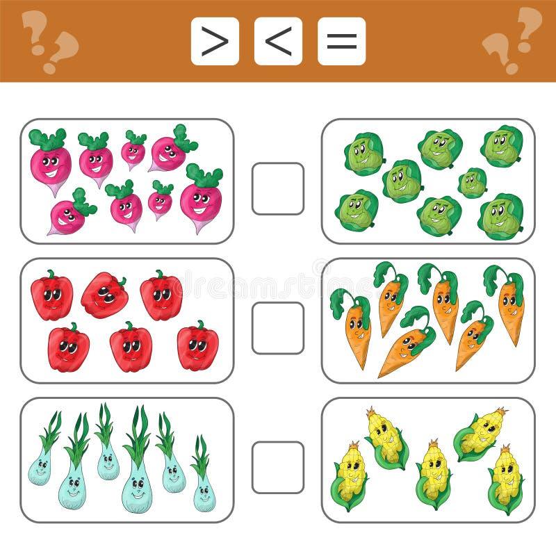 Het leren wiskunde, aantallen - kies meer, minder of gelijke Taken voor kinderen vector illustratie