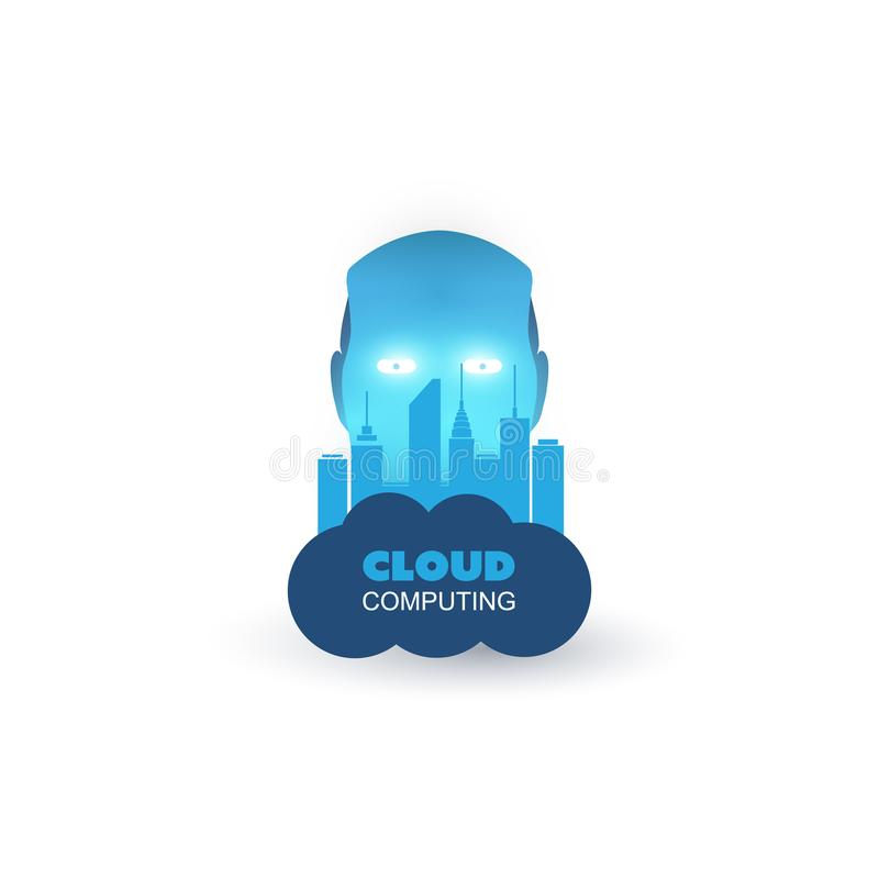 Het het Lerend, Kunstmatige intelligentie Bijgestane Slimme van Stadscontol Centrum van de blauwe Moderne Stijlmachine en IoT-Con vector illustratie