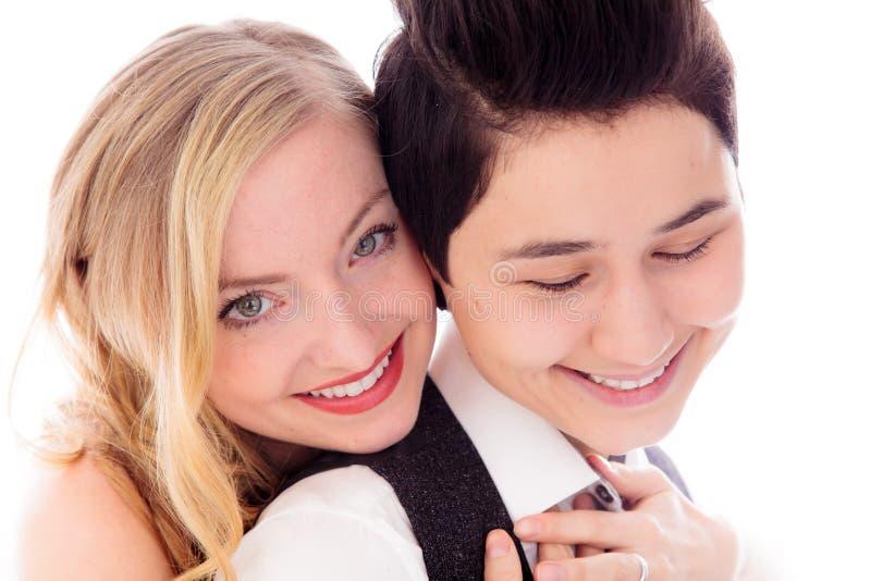 Het lesbische paar omhelzen royalty-vrije stock afbeelding
