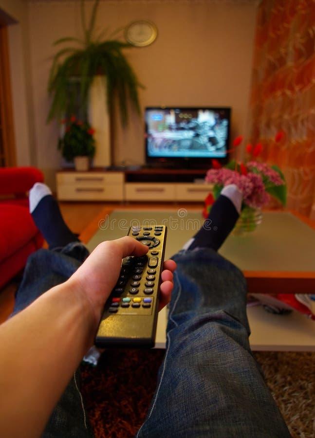 Het letten op TV stock fotografie
