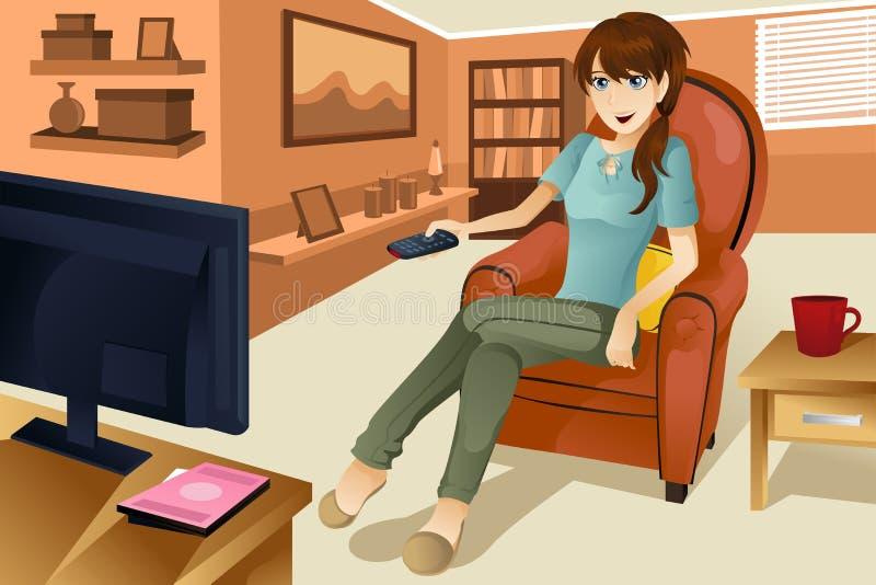 Het letten op van de vrouw televisie vector illustratie