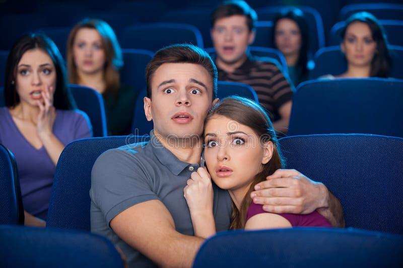 Het letten op verschrikkingsfilm. stock afbeelding
