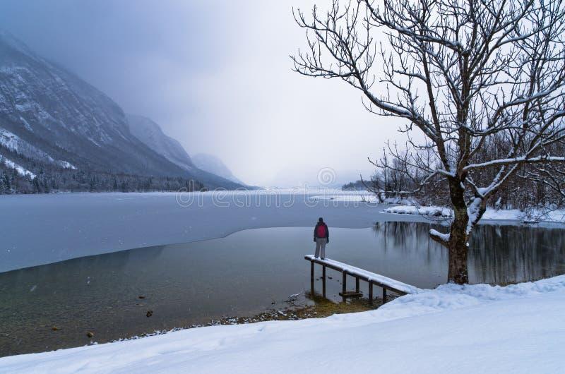 Het letten van de op komst van een sneeuwonweer over bevroren meer Bohinj in Sloveense Alpen royalty-vrije stock foto's