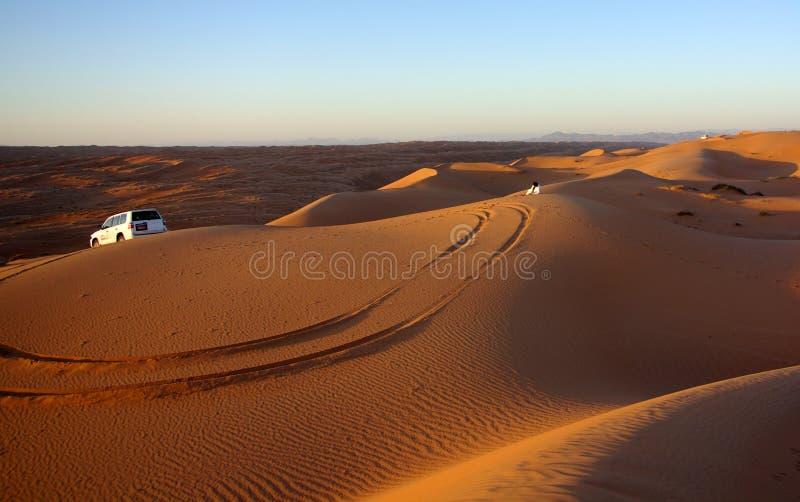 Het letten van de op Zonsondergang bij Wahiba-Zand royalty-vrije stock afbeelding