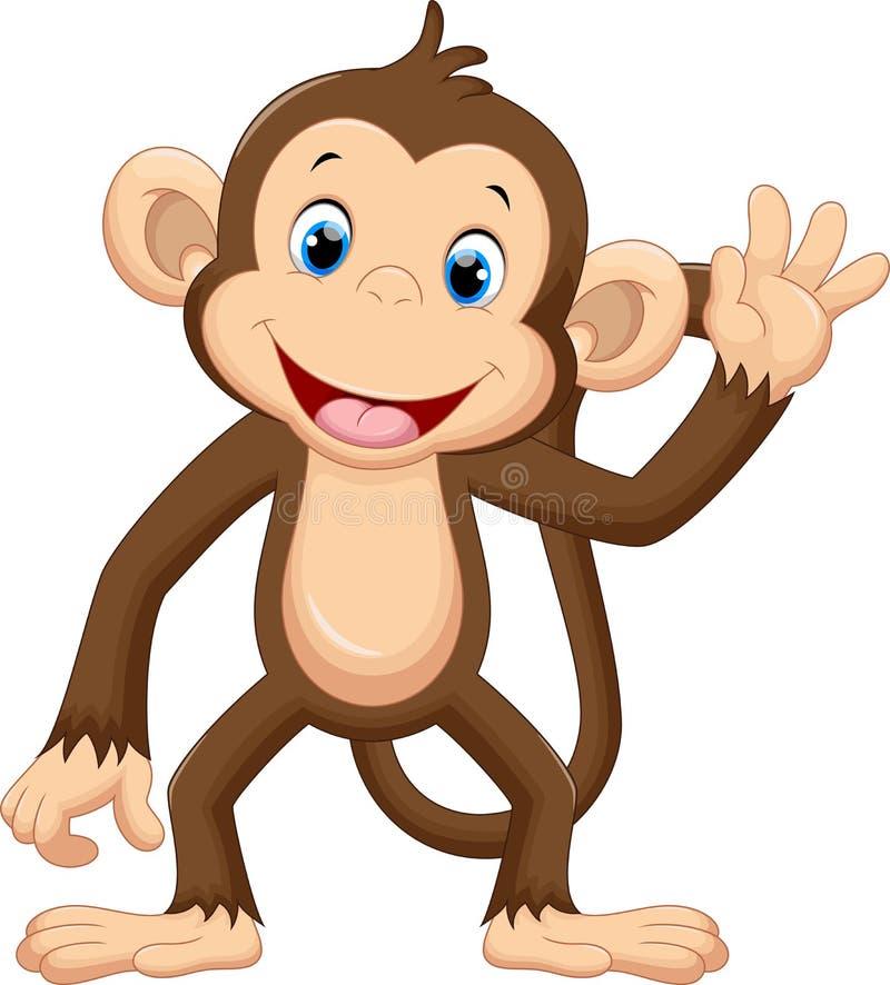 Het leuke aap golven stock illustratie