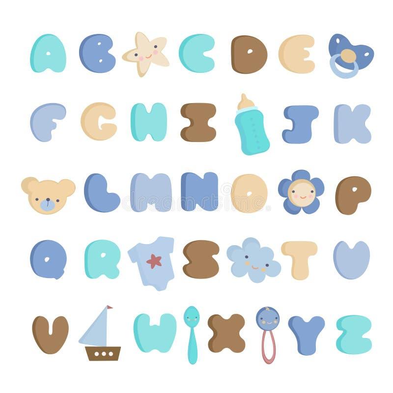 Het leuke Alfabet van de Babyjongen en elementen Vectorreeks royalty-vrije stock foto