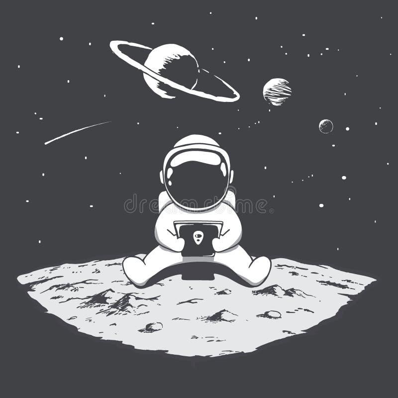 Het leuke astronaut spelen op een smartphone vector illustratie