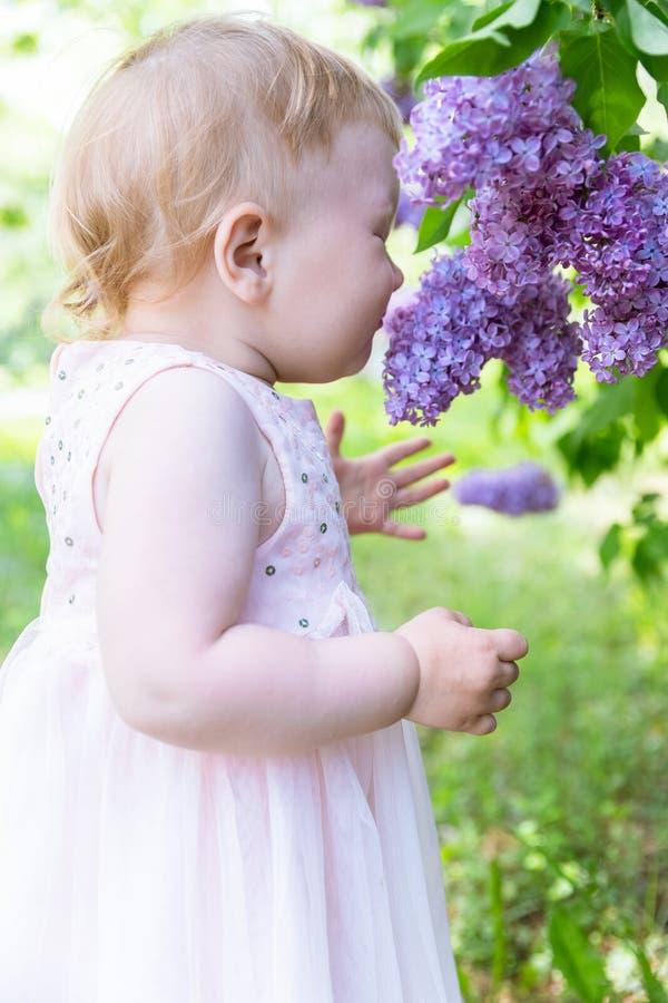Het leuke Babymeisje snuift Lilac Bloemen De lente royalty-vrije stock foto