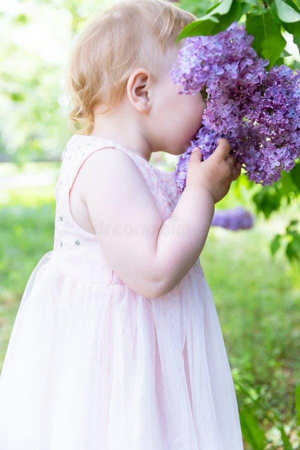 Het leuke Babymeisje snuift Lilac Bloemen De lente stock afbeeldingen
