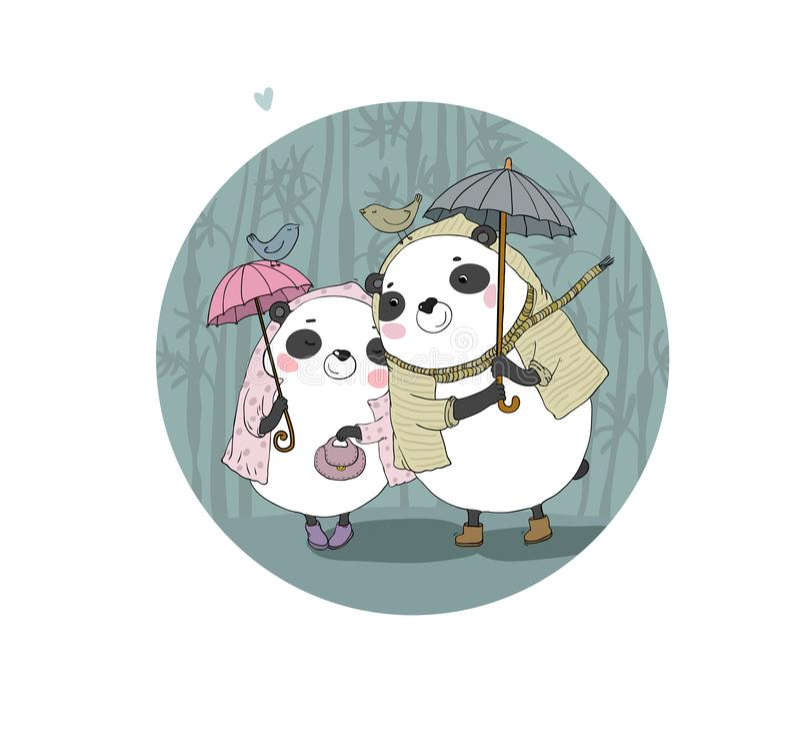 Het leuke beeldverhaal draagt panda's Het Thema van de herfst Een regenjas, Paraplu, Rubberlaarzen Handtekening geïsoleerde voorw royalty-vrije illustratie