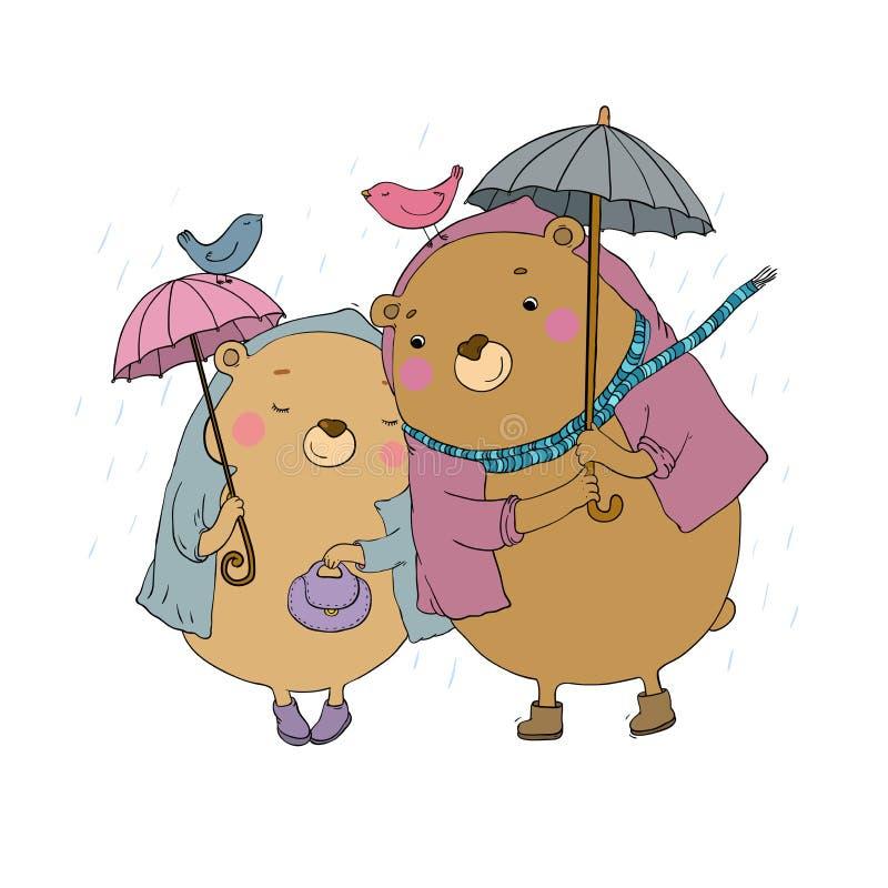 Het leuke beeldverhaal draagt Het Thema van de herfst Een regenjas, Paraplu, Rubberlaarzen Handtekening geïsoleerde voorwerpen op vector illustratie