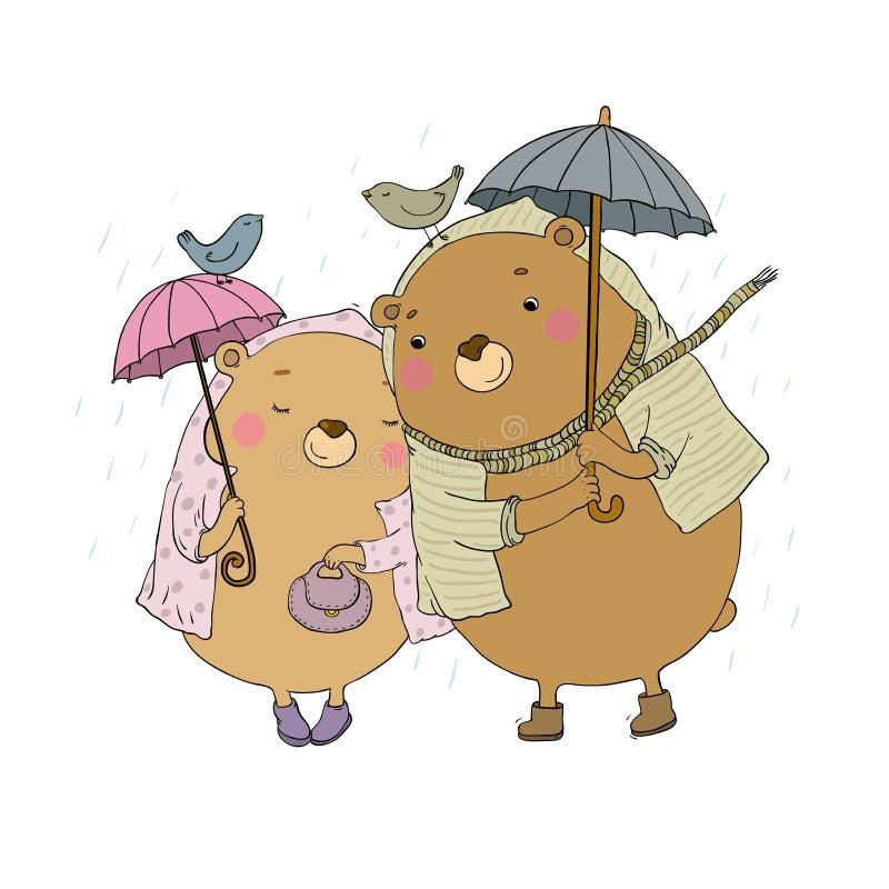 Het leuke beeldverhaal draagt Het Thema van de herfst Een regenjas, Paraplu, Rubberlaarzen Handtekening geïsoleerde voorwerpen op stock illustratie