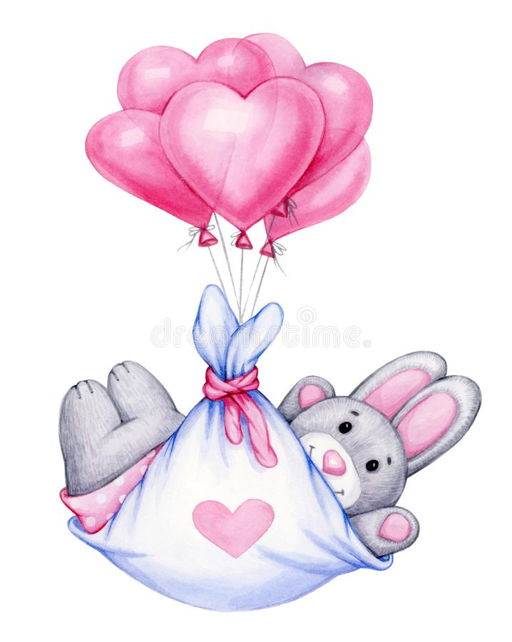 Het leuke beeldverhaal van het babykonijn met ballons royalty-vrije stock fotografie