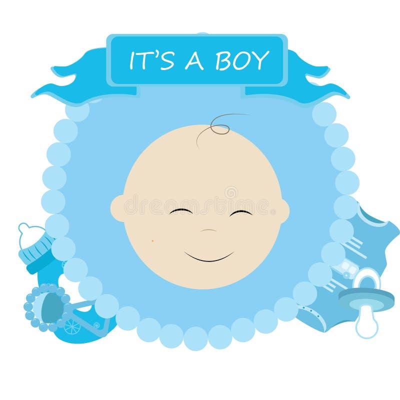 Het leuke beeldverhaal van de babydouche Het ` s een jongen Vector illustratie vector illustratie