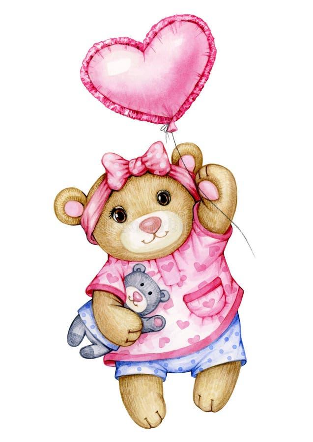 Het leuke beeldverhaal van de babyteddybeer met ballon stock afbeeldingen