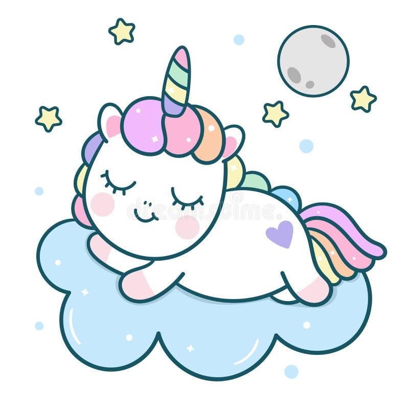 Het leuke beeldverhaal van de Eenhoorn vectorponey met maan op wolk, magische slaaptijd voor zoete droom stock illustratie