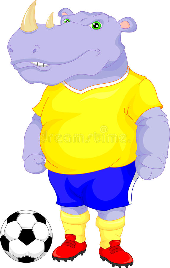 Het leuke beeldverhaal van het rinocerosvoetbal stock illustratie