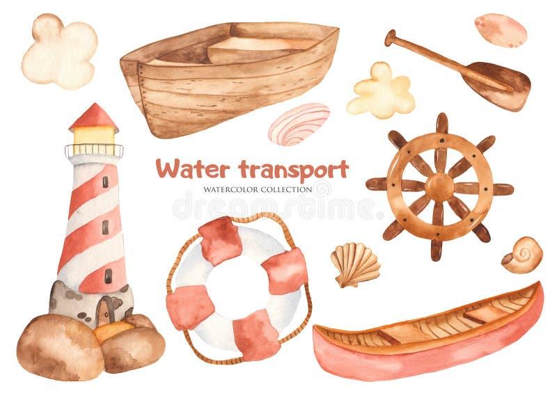 Het leuke beeldverhaal van waterverfkinderen dat met een vuurtoren, boot, peddel, stuurwiel wordt geplaatst stock illustratie