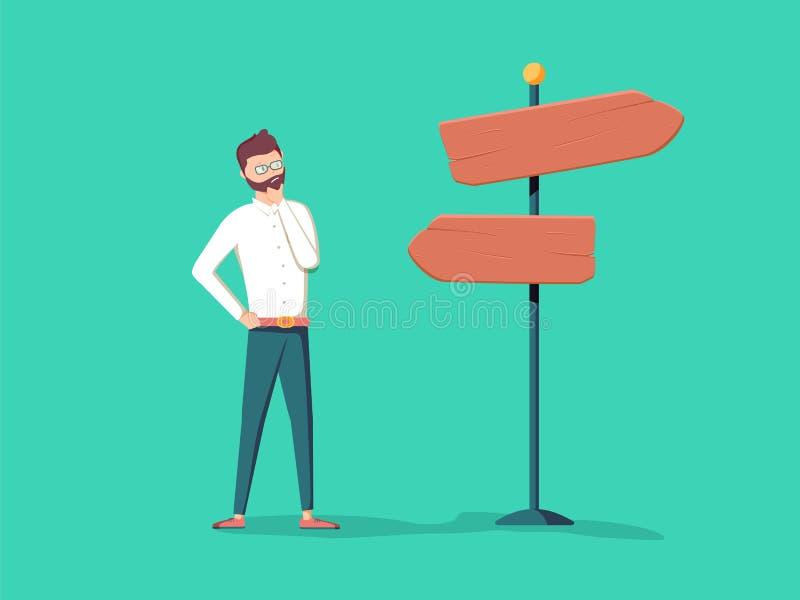 Het leuke beeldverhaal verwarde zakenman status dichtbij wijzer met verschillende richtingen en het kiezen van route, manier, per vector illustratie