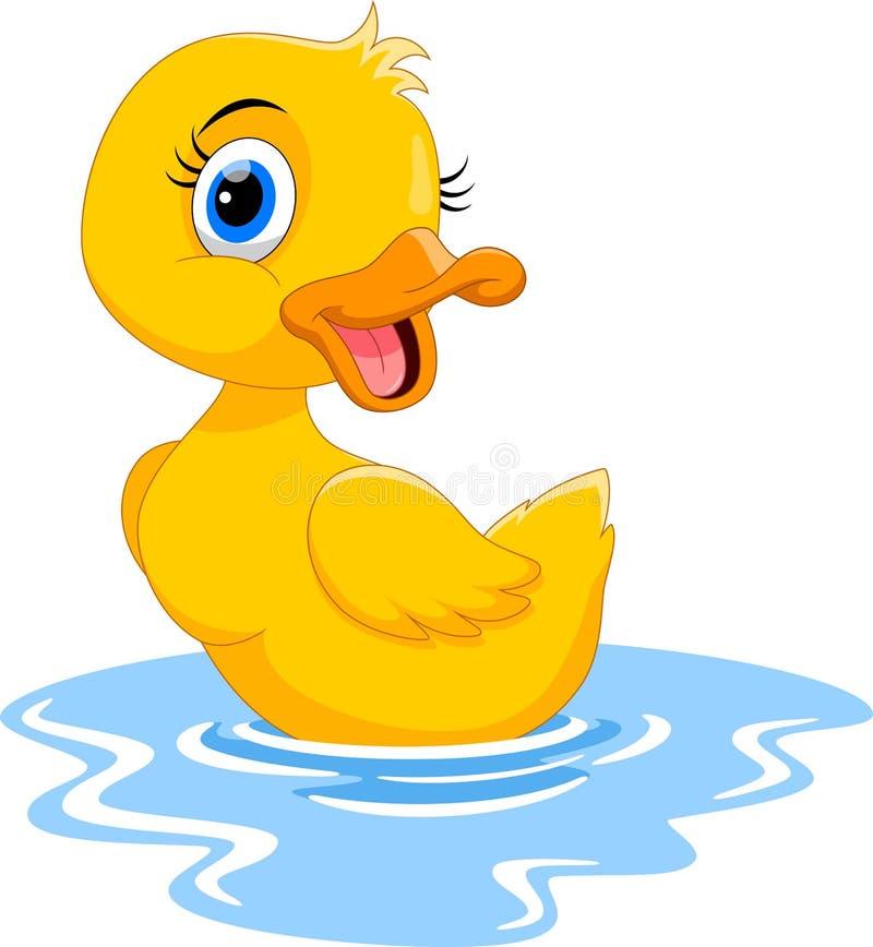 Het leuke beeldverhaaleend zwemmen Grappig en aanbiddelijk stock illustratie