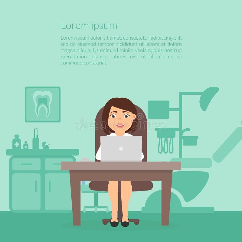 Het leuke beeldverhaalkarakter bureau van Dental van de artsentandarts Tandheelkundekliniek Werkplaats, computer, de vrouwen van  stock illustratie
