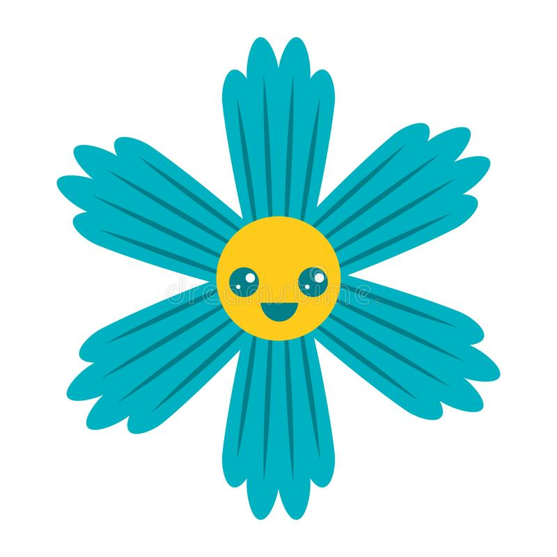 Het leuke blauwe beeldverhaal van bloemkawaii vector illustratie