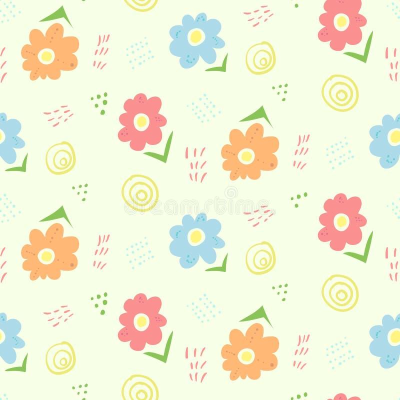 Het leuke bloemen naadloze patroon van de jonge geitjeskrabbel royalty-vrije illustratie