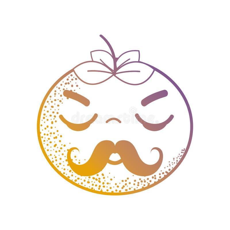 Het leuke boze oranje fruit van lijnkawaii stock illustratie