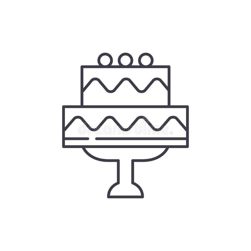 Het leuke concept van het de lijnpictogram van de huwelijkscake De leuke vector lineaire illustratie van de huwelijkscake, symboo royalty-vrije illustratie