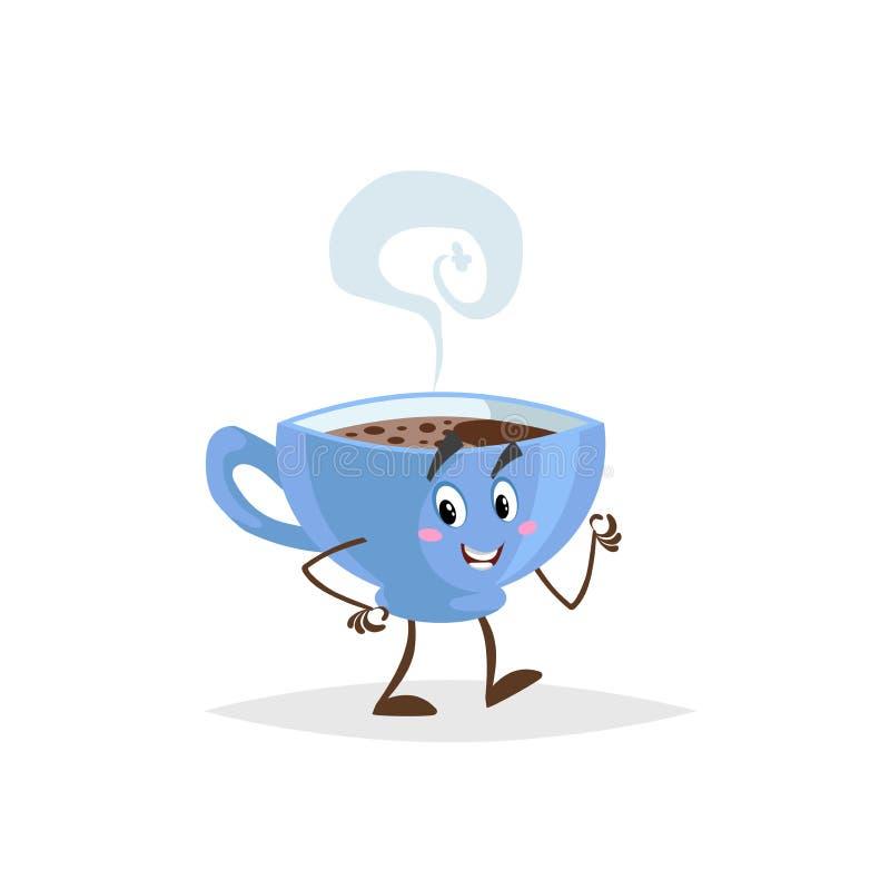 Het leuke de kopkarakter van de beeldverhaalkoffie blauwe lopen Vermenselijkte mok met hete drank De mascotte van het ochtendontb royalty-vrije illustratie