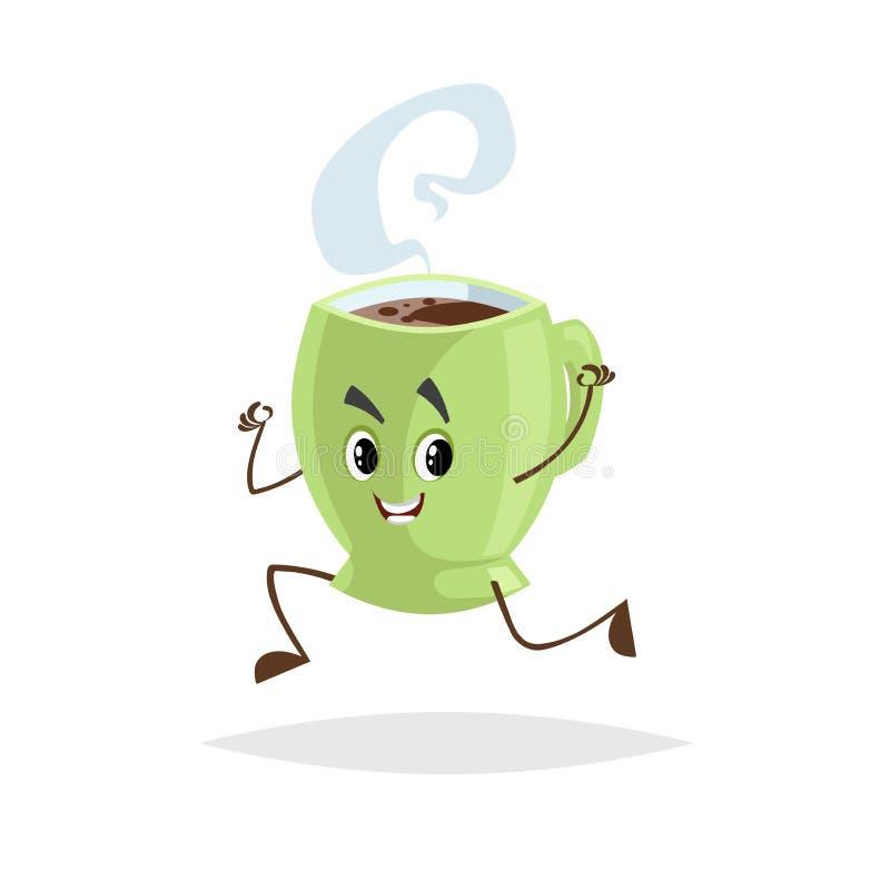 Het leuke de kopkarakter van de beeldverhaalkoffie groene lopen Vermenselijkte mok met hete drank De mascotte van het ochtendontb stock illustratie