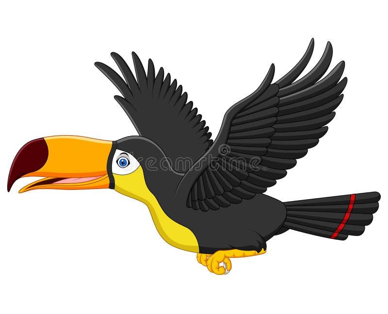 Het leuke de vogel van de beeldverhaaltoekan vliegen vector illustratie
