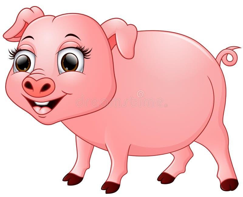 Het leuke die beeldverhaal van het babyvarken op witte achtergrond wordt geïsoleerd stock illustratie