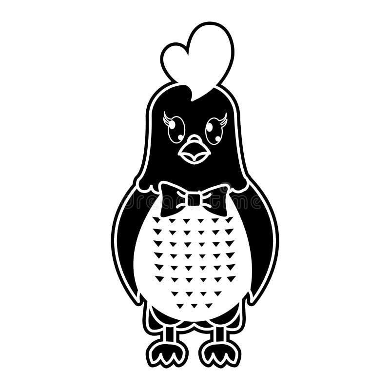 Het leuke dier van de silhouetkip met lintboog vector illustratie