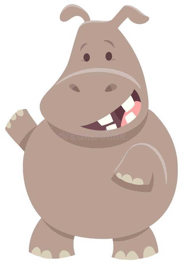 Het leuke dierlijke karakter van het beeldverhaalnijlpaard stock illustratie