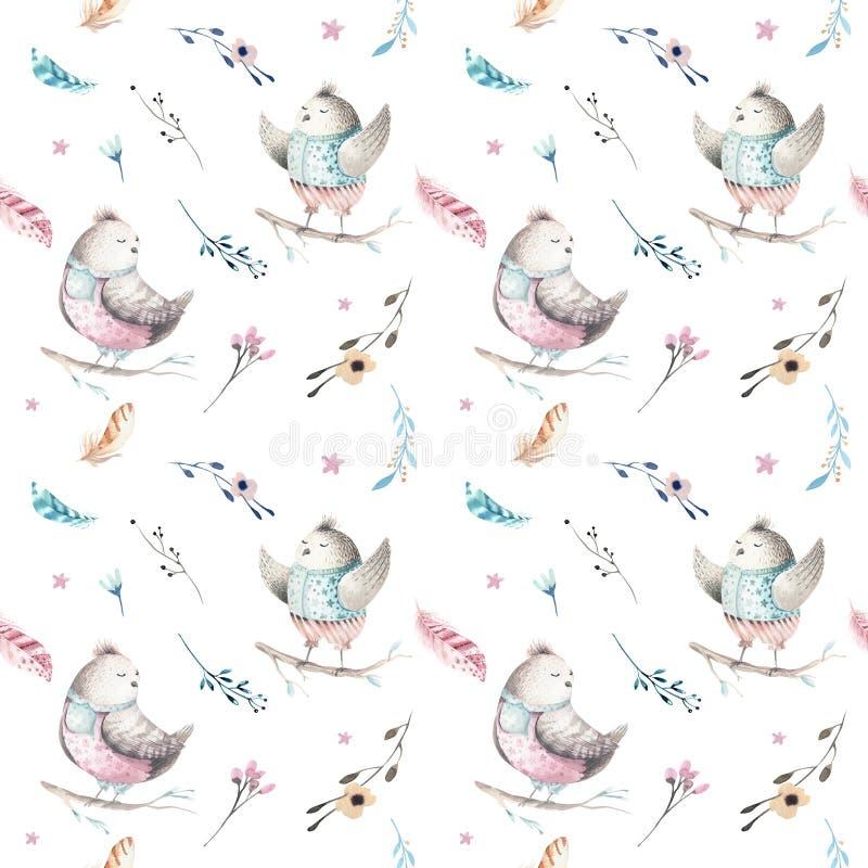 Het leuke dierlijke naadloze patroon van de babyvogel, bosillustratie voor kinderen kleding Boswaterverfhand getrokken boho royalty-vrije illustratie